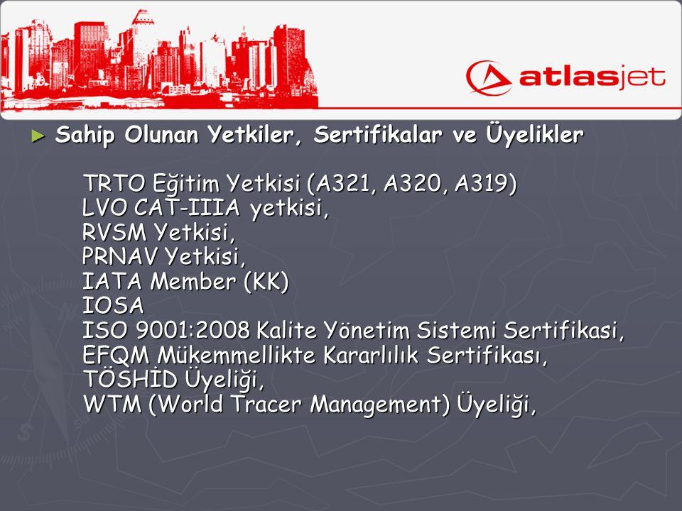 Sahip Olunan Yetkiler, Sertifikalar ve Üyelikler TRTO Eğitim Yetkisi (A321, A320, A319) LVO CAT-IIIA yetkisi, RVSM Yetkisi, PRNAV Yetkisi, IATA Member (KK) IOSA ISO 9001:2008 Kalite Yönetim Sistemi Sertifikasi, EFQM Mükemmellikte Kararlılık Sertifikası, TÖSHİD Üyeliği, WTM (World Tracer Management) Üyeliği,