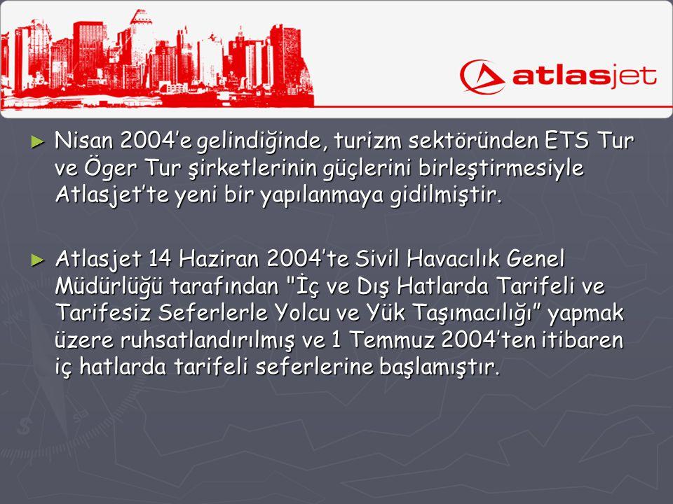 Nisan 2004'e gelindiğinde, turizm sektöründen ETS Tur ve Öger Tur şirketlerinin güçlerini birleştirmesiyle Atlasjet'te yeni bir yapılanmaya gidilmiştir.