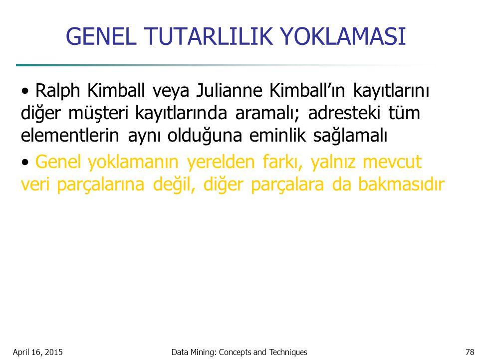 GENEL TUTARLILIK YOKLAMASI