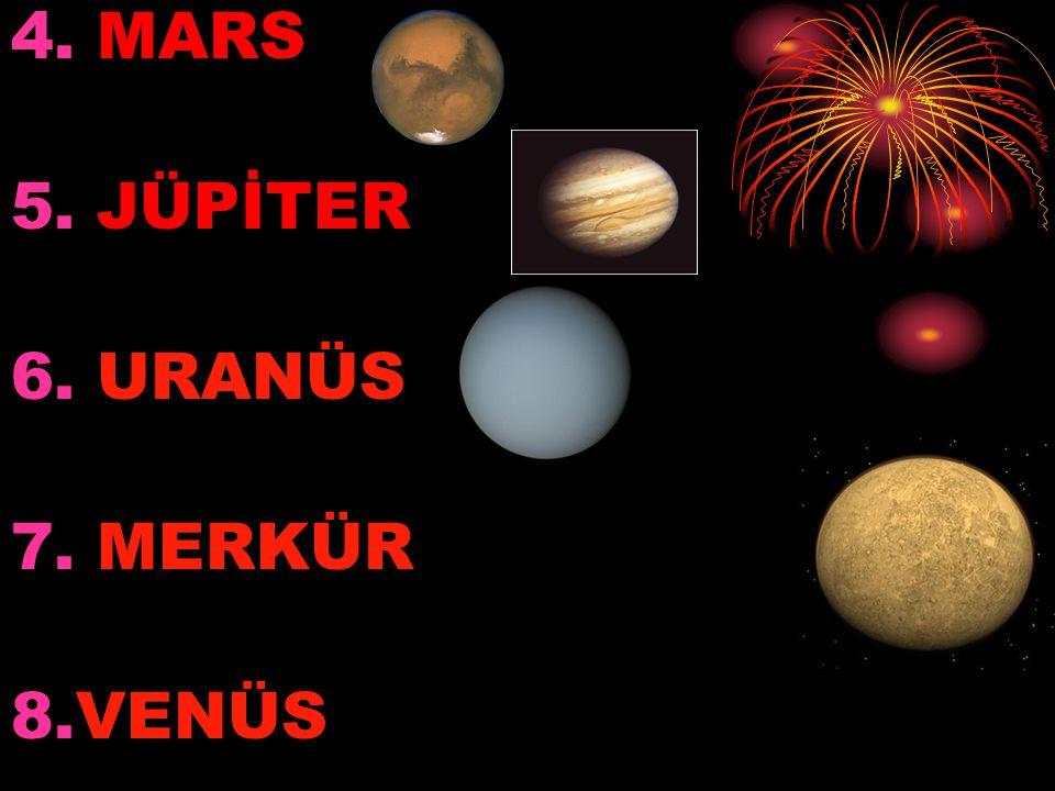 4. MARS 5. JÜPİTER 6. URANÜS 7. MERKÜR 8.VENÜS