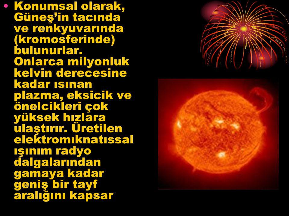 Konumsal olarak, Güneş'in tacında ve renkyuvarında (kromosferinde) bulunurlar.