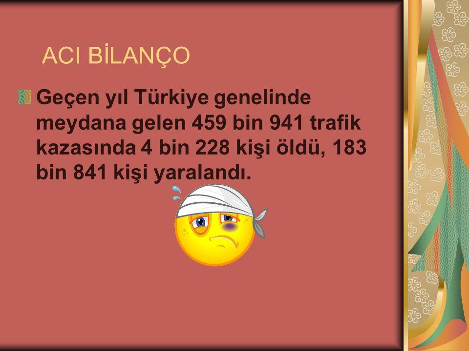 ACI BİLANÇO Geçen yıl Türkiye genelinde meydana gelen 459 bin 941 trafik kazasında 4 bin 228 kişi öldü, 183 bin 841 kişi yaralandı.