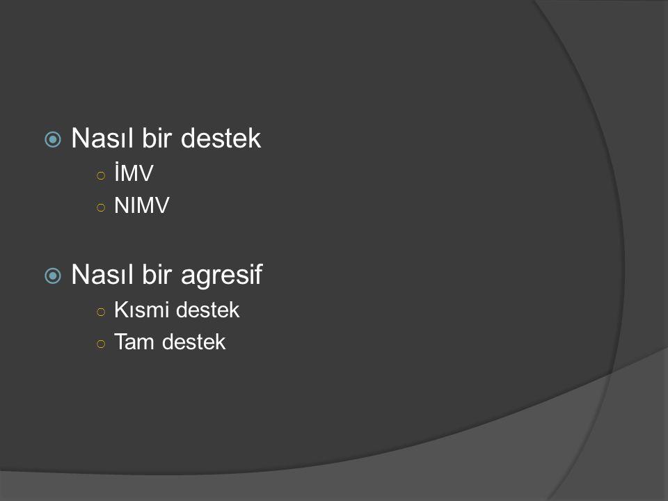 Nasıl bir destek İMV NIMV Nasıl bir agresif Kısmi destek Tam destek