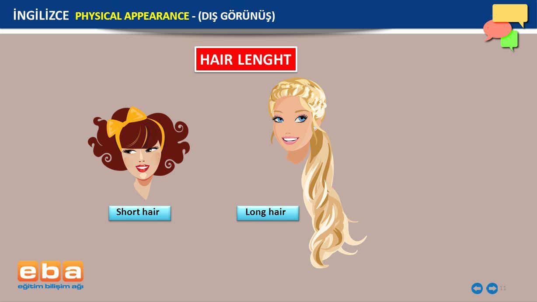 HAIR LENGHT İNGİLİZCE PHYSICAL APPEARANCE - (DIŞ GÖRÜNÜŞ) Short hair