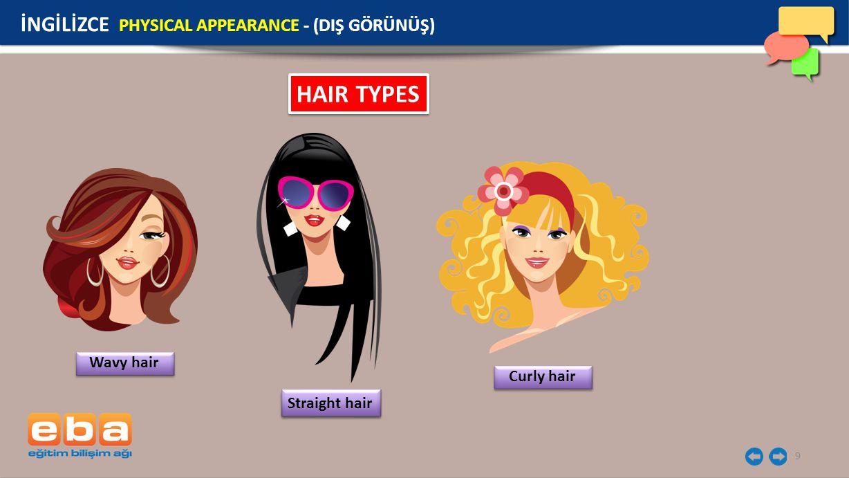 HAIR TYPES İNGİLİZCE PHYSICAL APPEARANCE - (DIŞ GÖRÜNÜŞ) Wavy hair