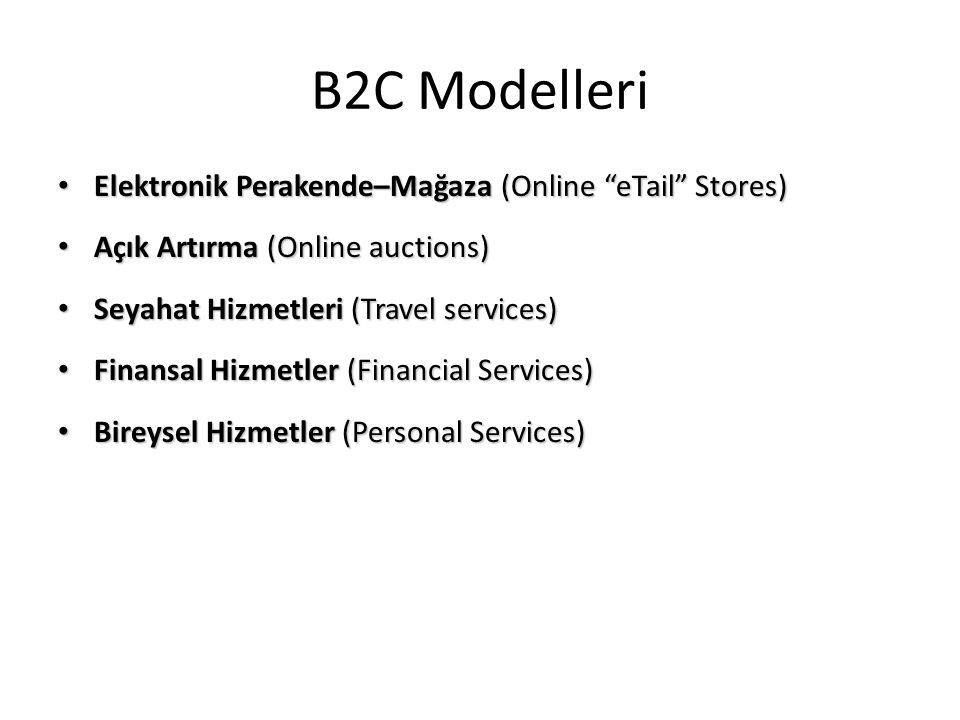 B2C Modelleri Elektronik Perakende–Mağaza (Online eTail Stores)