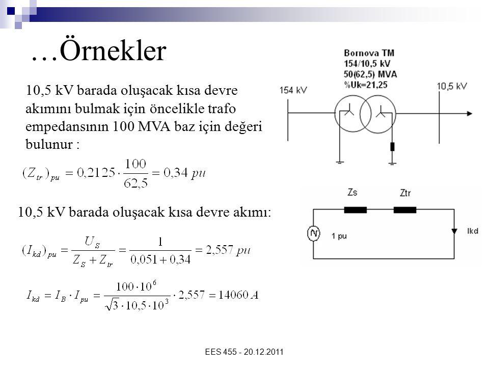 …Örnekler 10,5 kV barada oluşacak kısa devre akımını bulmak için öncelikle trafo empedansının 100 MVA baz için değeri bulunur :
