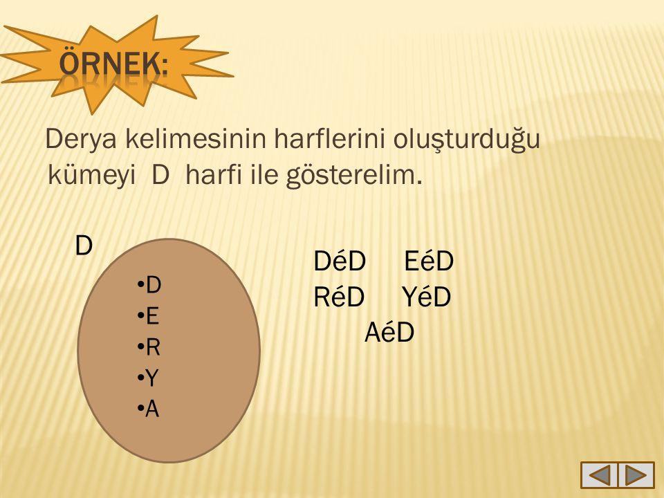 Örnek: Derya kelimesinin harflerini oluşturduğu kümeyi D harfi ile gösterelim. D. DéD EéD. RéD YéD.