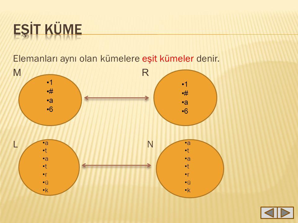 EŞİT KÜME Elemanları aynı olan kümelere eşit kümeler denir. M R L N 1