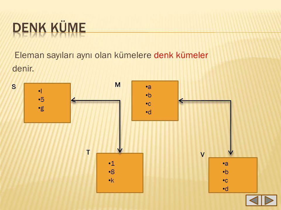 DENK KÜME Eleman sayıları aynı olan kümelere denk kümeler denir. M S a