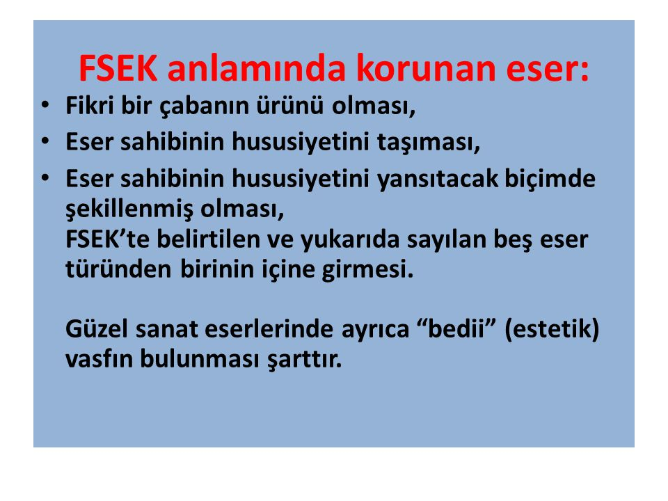 FSEK anlamında korunan eser: