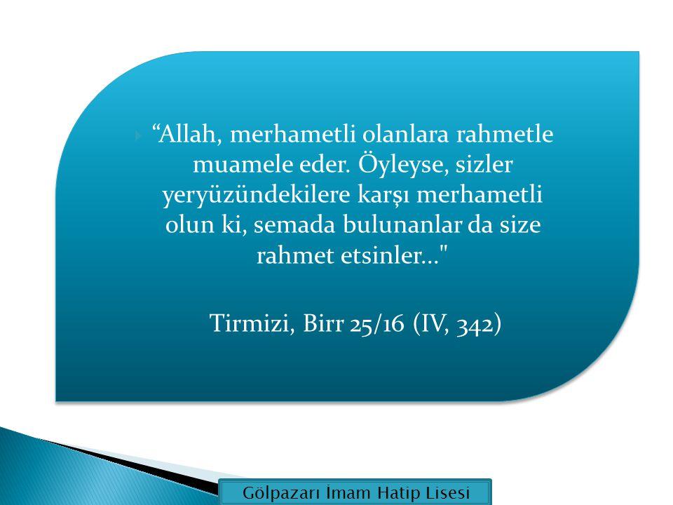 Allah, merhametli olanlara rahmetle muamele eder