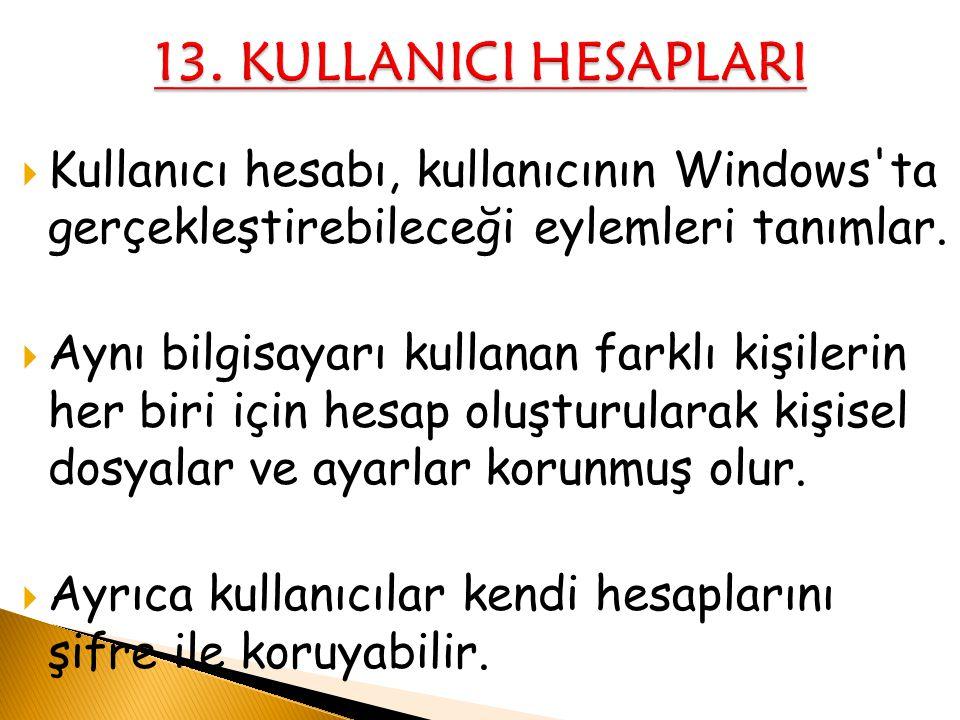 13. KULLANICI HESAPLARI Kullanıcı hesabı, kullanıcının Windows ta gerçekleştirebileceği eylemleri tanımlar.