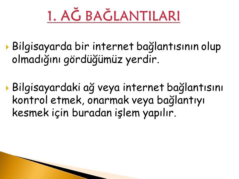 1. AĞ BAĞLANTILARI Bilgisayarda bir internet bağlantısının olup olmadığını gördüğümüz yerdir.