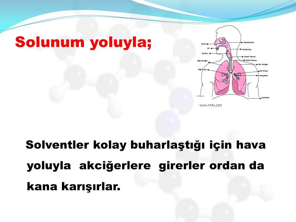 Solunum yoluyla; Solventler kolay buharlaştığı için hava yoluyla akciğerlere girerler ordan da kana karışırlar.