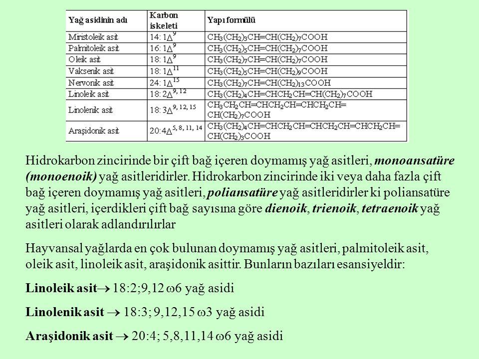 Hidrokarbon zincirinde bir çift bağ içeren doymamış yağ asitleri, monoansatüre (monoenoik) yağ asitleridirler. Hidrokarbon zincirinde iki veya daha fazla çift bağ içeren doymamış yağ asitleri, poliansatüre yağ asitleridirler ki poliansatüre yağ asitleri, içerdikleri çift bağ sayısına göre dienoik, trienoik, tetraenoik yağ asitleri olarak adlandırılırlar
