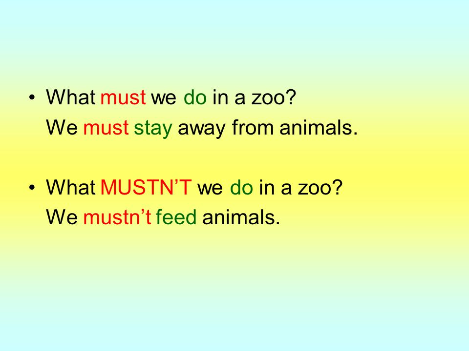 What must we do in a zoo. We must stay away from animals.