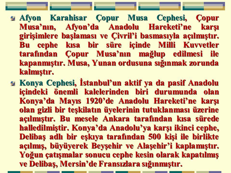 Afyon Karahisar Çopur Musa Cephesi, Çopur Musa'nın, Afyon'da Anadolu Hareketi'ne karşı girişimlere başlaması ve Çivril'i basmasıyla açılmıştır. Bu cephe kısa bir süre içinde Milli Kuvvetler tarafından Çopur Musa'nın mağlup edilmesi ile kapanmıştır. Musa, Yunan ordusuna sığınmak zorunda kalmıştır.