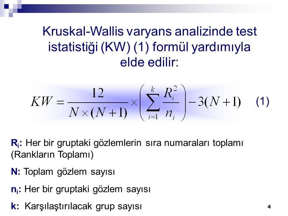 Kruskal-Wallis varyans analizinde test istatistiği (KW) (1) formül yardımıyla elde edilir: