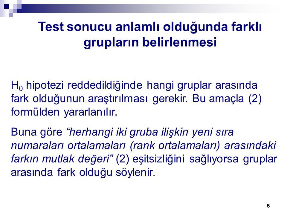 Test sonucu anlamlı olduğunda farklı grupların belirlenmesi
