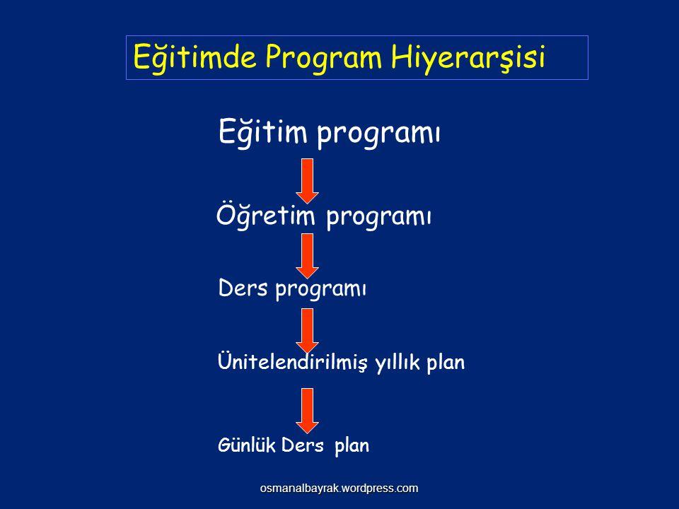 Eğitimde Program Hiyerarşisi