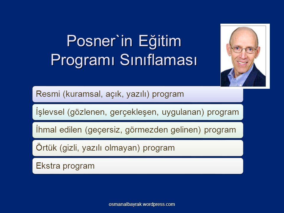 Posner`in Eğitim Programı Sınıflaması