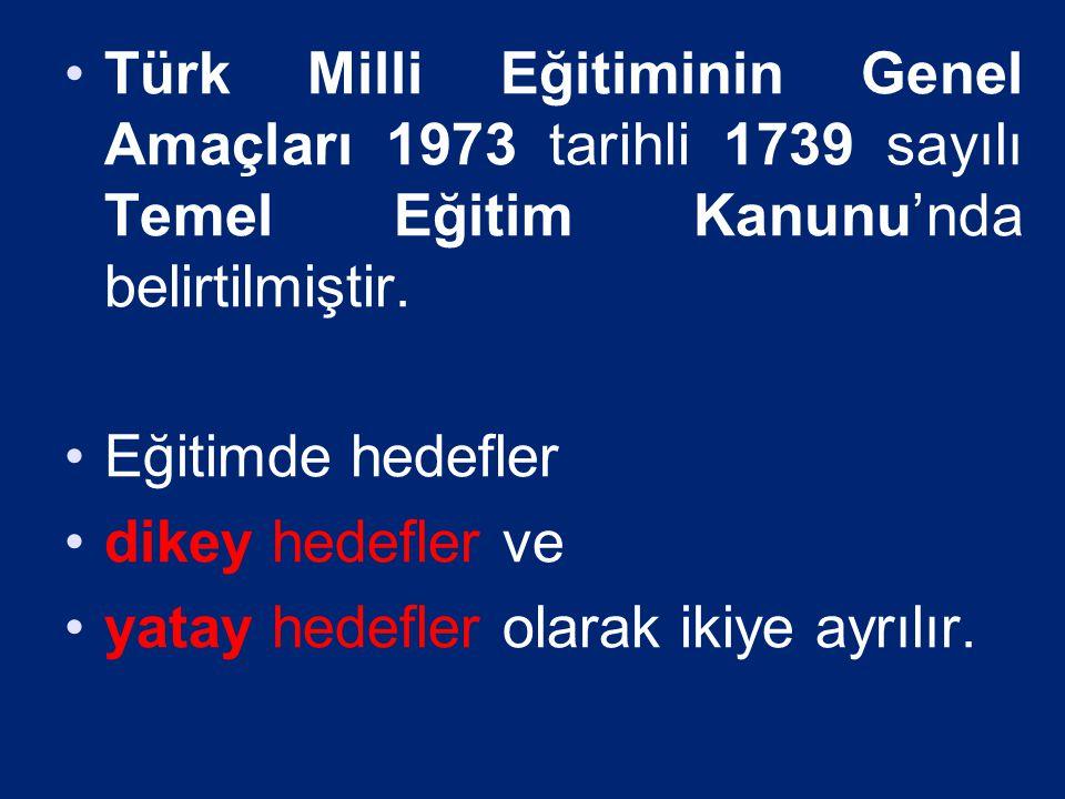 Türk Milli Eğitiminin Genel Amaçları 1973 tarihli 1739 sayılı Temel Eğitim Kanunu'nda belirtilmiştir.