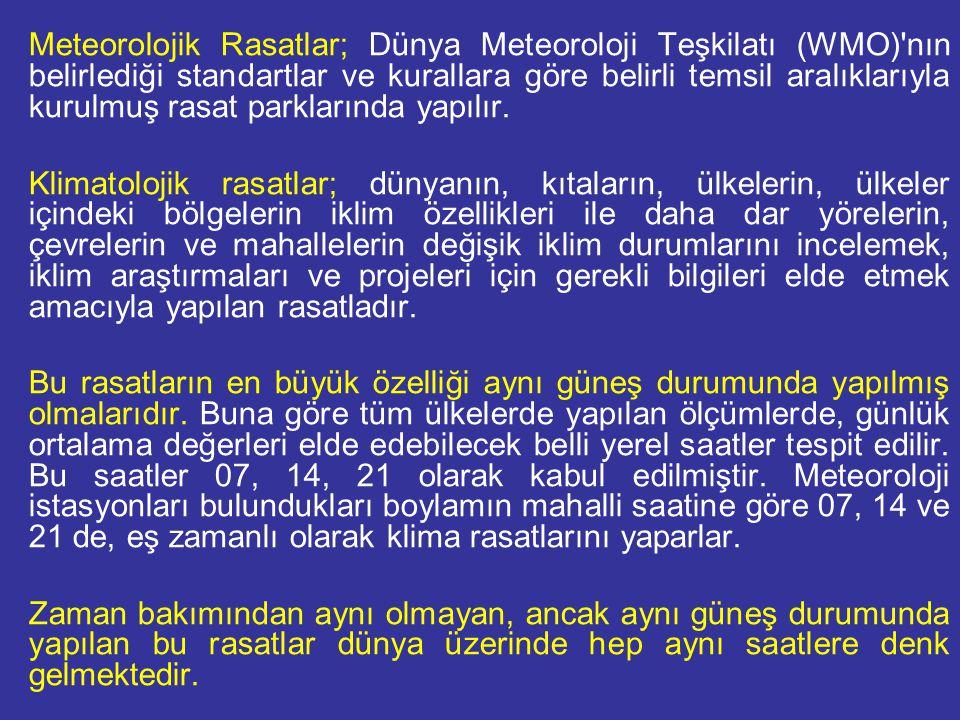 Meteorolojik Rasatlar; Dünya Meteoroloji Teşkilatı (WMO) nın belirlediği standartlar ve kurallara göre belirli temsil aralıklarıyla kurulmuş rasat parklarında yapılır.
