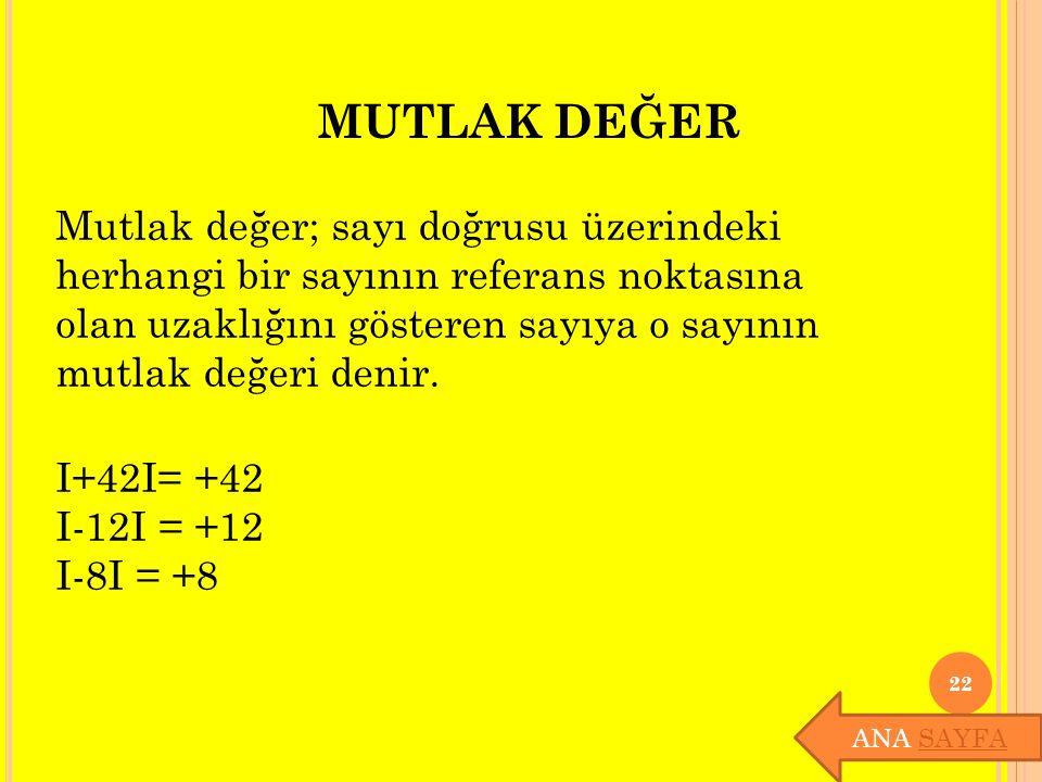 MUTLAK DEĞER I+42I= +42 I-12I = +12 I-8I = +8