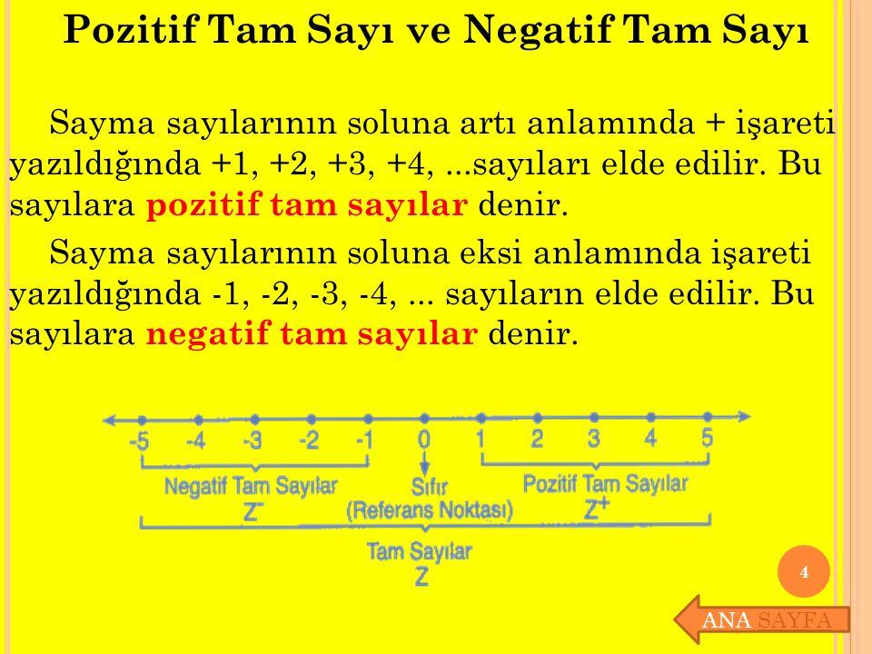 Pozitif Tam Sayı ve Negatif Tam Sayı