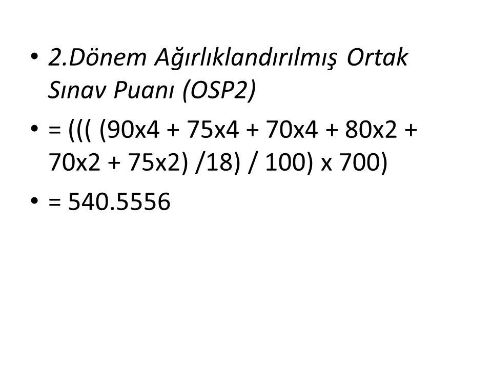 2.Dönem Ağırlıklandırılmış Ortak Sınav Puanı (OSP2)