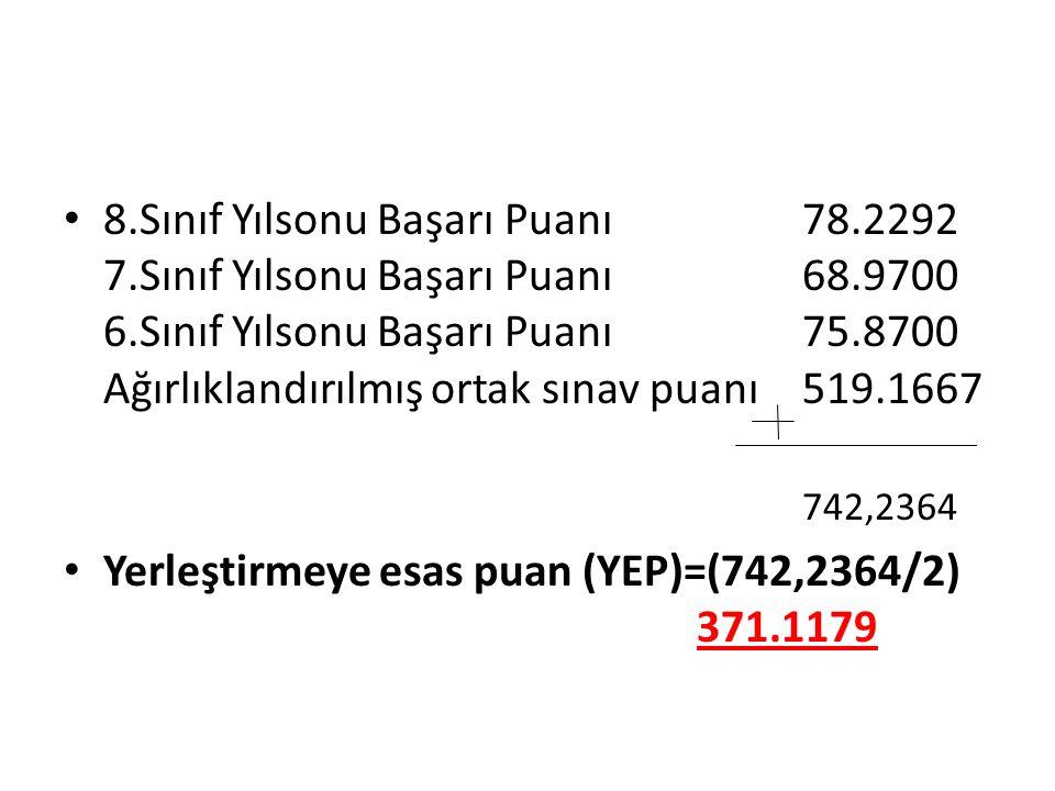 Yerleştirmeye esas puan (YEP)=(742,2364/2) 371.1179
