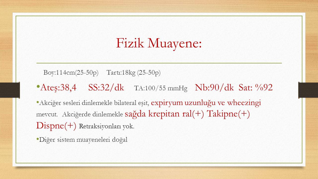 Fizik Muayene: Ateş:38,4 SS:32/dk TA:100/55 mmHg Nb:90/dk Sat: %92