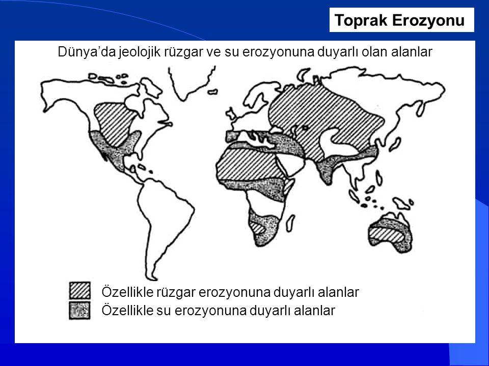 Dünya'da jeolojik rüzgar ve su erozyonuna duyarlı olan alanlar