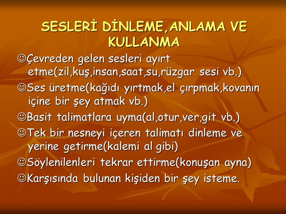 SESLERİ DİNLEME,ANLAMA VE KULLANMA