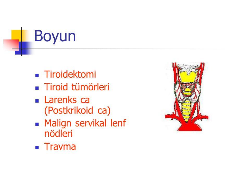 Boyun Tiroidektomi Tiroid tümörleri Larenks ca (Postkrikoid ca)