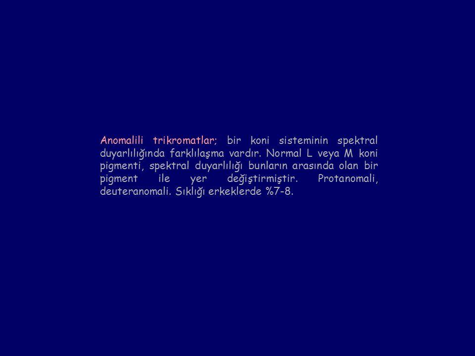 Anomalili trikromatlar; bir koni sisteminin spektral duyarlılığında farklılaşma vardır.