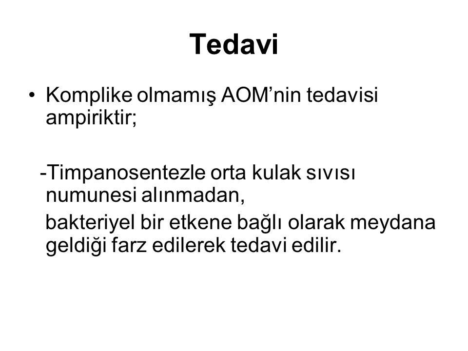 Tedavi Komplike olmamış AOM'nin tedavisi ampiriktir;