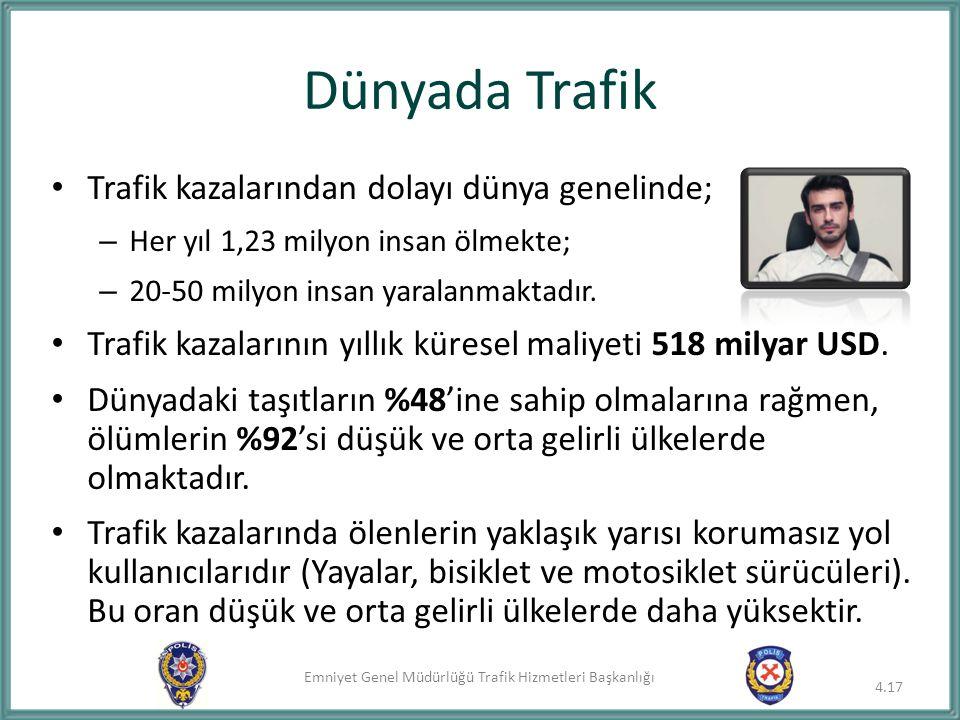 Dünyada Trafik Trafik kazalarından dolayı dünya genelinde;