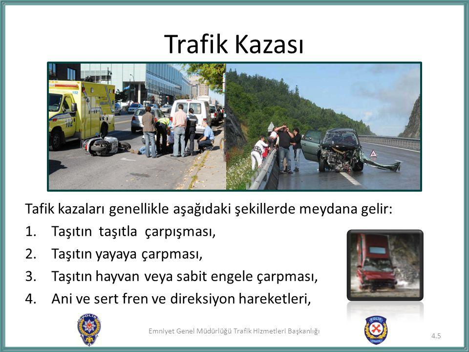 Trafik Kazası Tafik kazaları genellikle aşağıdaki şekillerde meydana gelir: Taşıtın taşıtla çarpışması,