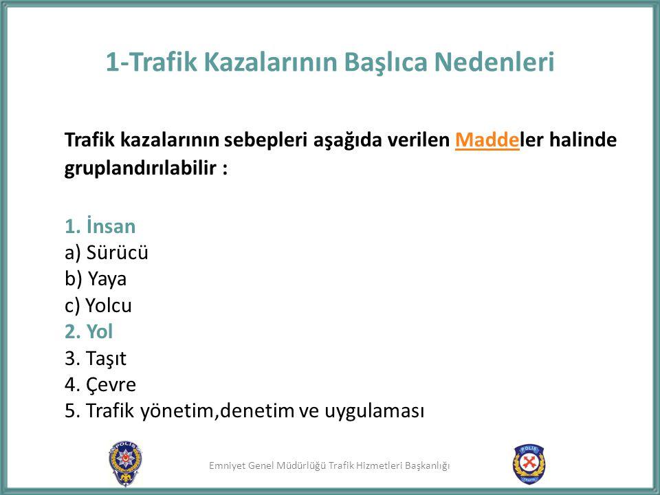 1-Trafik Kazalarının Başlıca Nedenleri