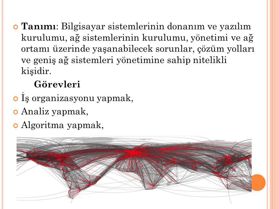Tanımı: Bilgisayar sistemlerinin donanım ve yazılım kurulumu, ağ sistemlerinin kurulumu, yönetimi ve ağ ortamı üzerinde yaşanabilecek sorunlar, çözüm yolları ve geniş ağ sistemleri yönetimine sahip nitelikli kişidir.