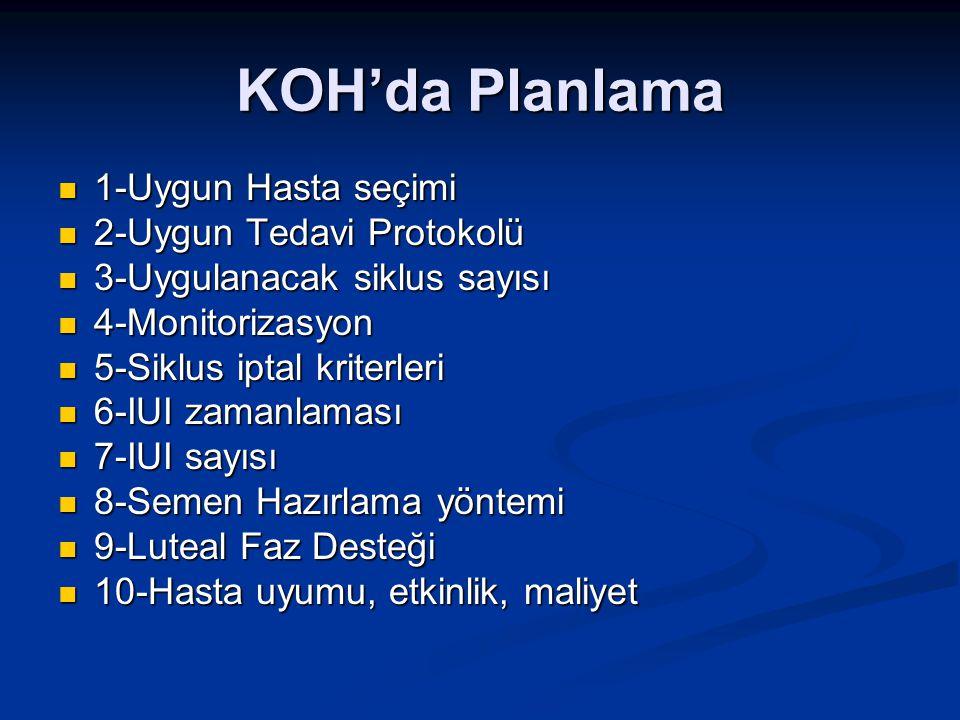 KOH'da Planlama 1-Uygun Hasta seçimi 2-Uygun Tedavi Protokolü