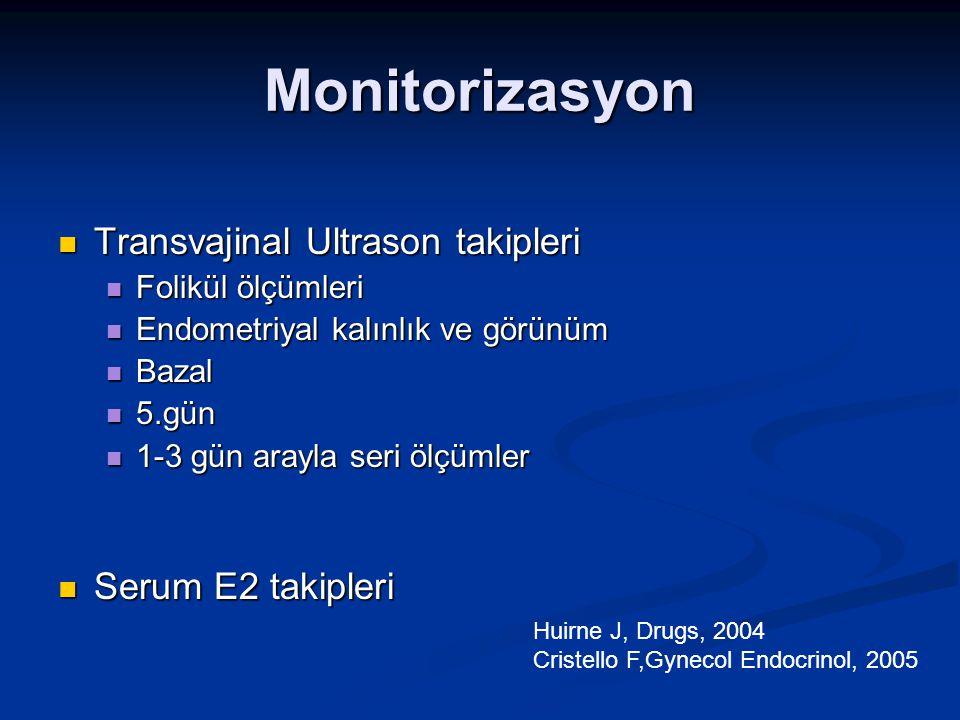 Monitorizasyon Transvajinal Ultrason takipleri Serum E2 takipleri