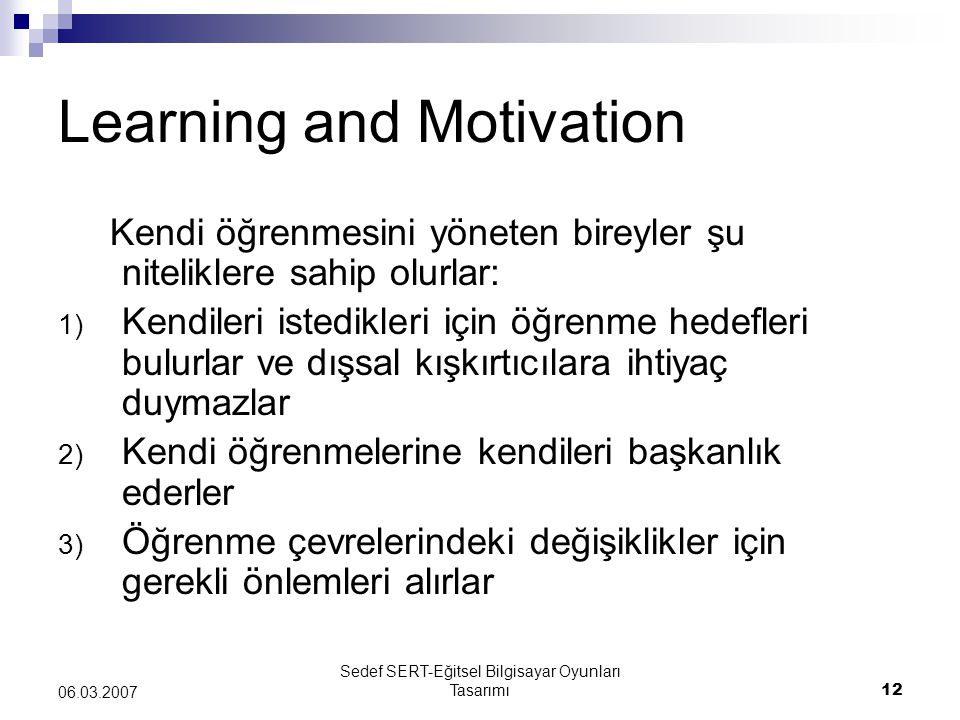Learning and Motivation
