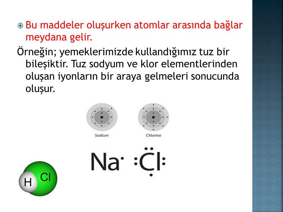 Bu maddeler oluşurken atomlar arasında bağlar meydana gelir.