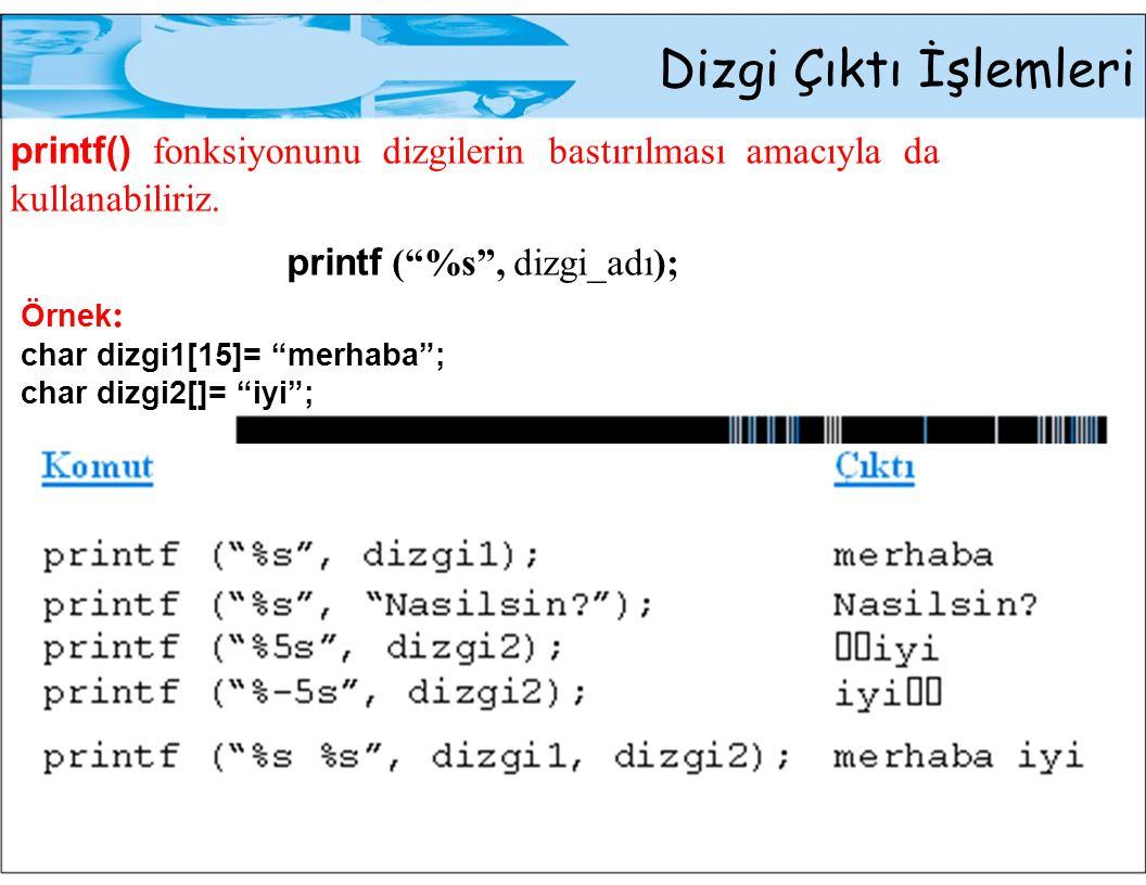 Dizgi Çıktı İşlemleri printf() fonksiyonunu dizgilerin bastırılması amacıyla da kullanabiliriz.