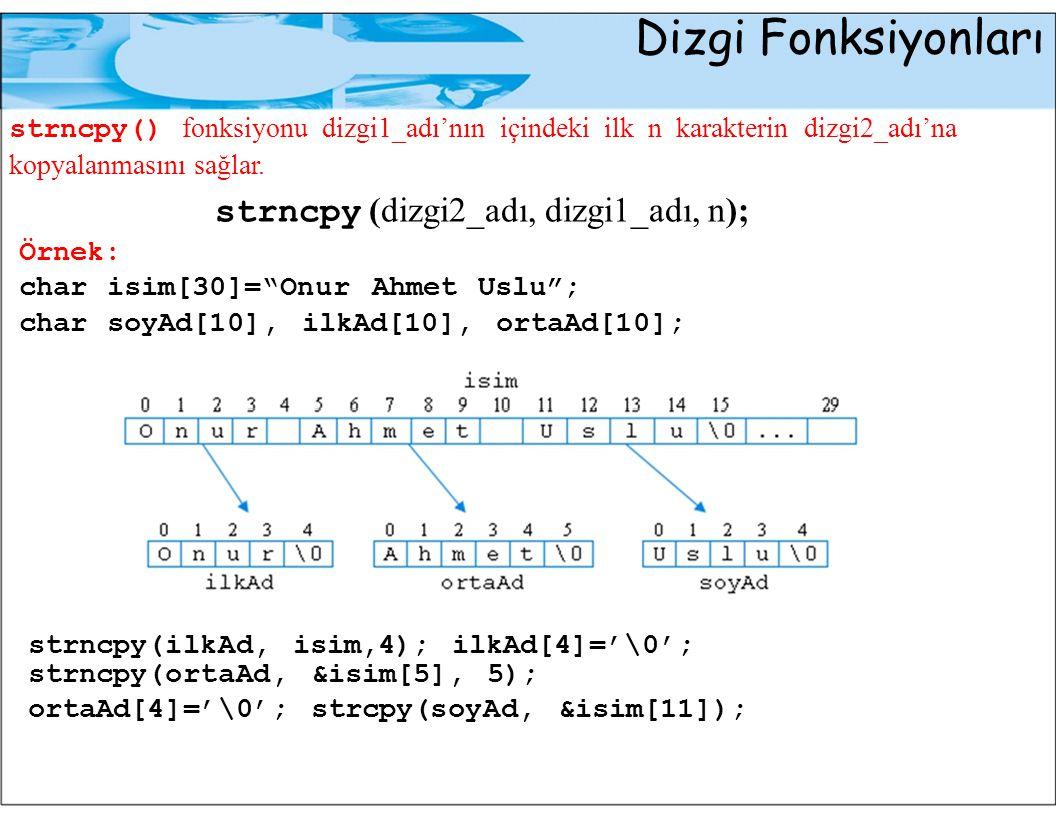 Dizgi Fonksiyonları strncpy (dizgi2_adı, dizgi1_adı, n);