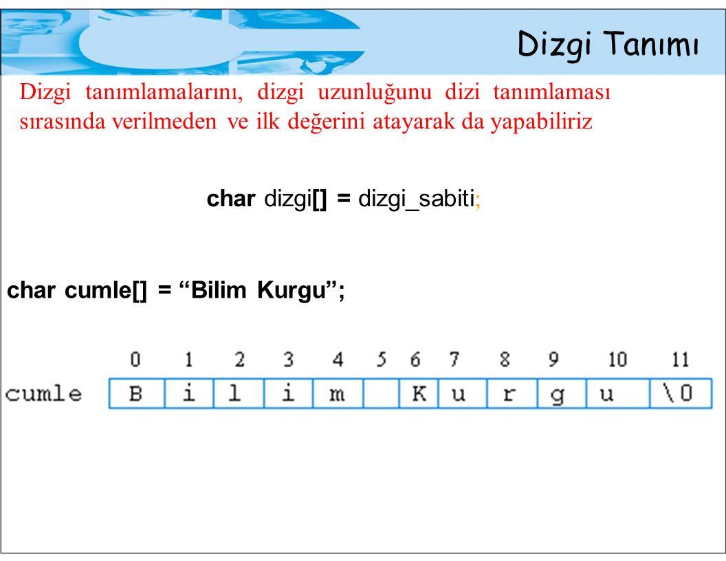 Dizgi Tanımı Dizgi tanımlamalarını, dizgi uzunluğunu dizi tanımlaması sırasında verilmeden ve ilk değerini atayarak da yapabiliriz.