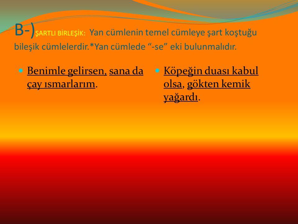 B-)ŞARTLI BİRLEŞİK: Yan cümlenin temel cümleye şart koştuğu bileşik cümlelerdir.*Yan cümlede -se eki bulunmalıdır.